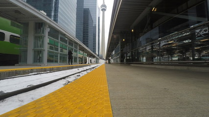 4K UltraHD Train tracks at Union Station in Toronto with the CN