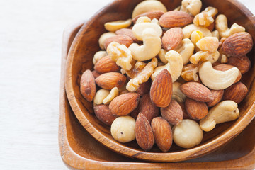 Close - up Mix of nuts on white background..