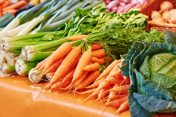 Fennel and carrots on Parisian farmer market