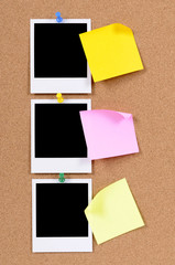 Blank photo prints with sticky notes