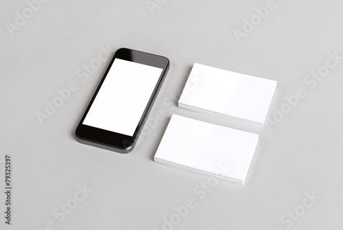 Leinwandbild Motiv Business cards & smart phone