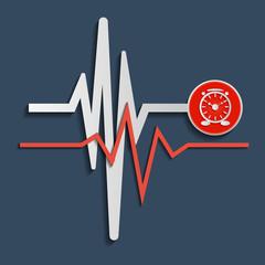 Heart beat line, cardiogram. Vector