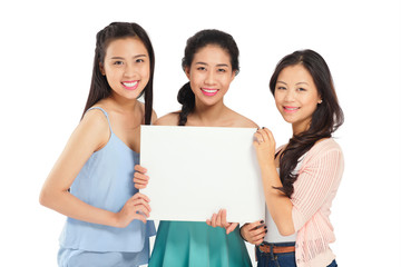 Girls with blank board