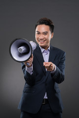 Manager with loudspeaker