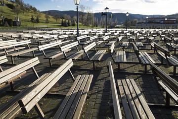 Wooden benches at marija bistrica