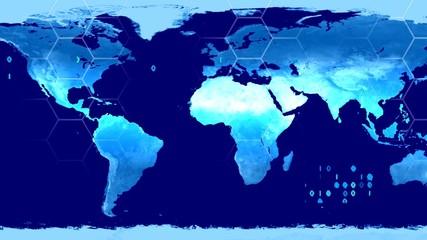 World map high tech digital satellite data view war room loop bl