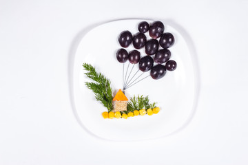 creative design of food on the plate
