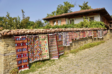 Traditional Bulgarian woven fabrics on the fence
