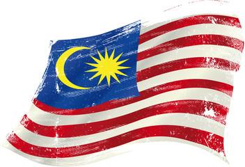 Malaysian grunge waving flag