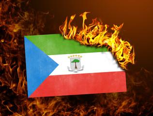 Flag burning - Equatorial Guinea