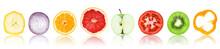 "Постер, картина, фотообои ""Collection of fresh fruit and vegetable slices"""