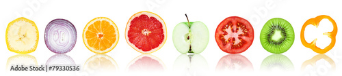 Foto Spatwand Eten Collection of fresh fruit and vegetable slices