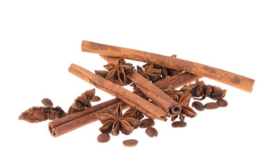 Dried Cinnamon, Anise. Isolated