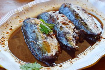 boiled mackerel in soy bean sauce