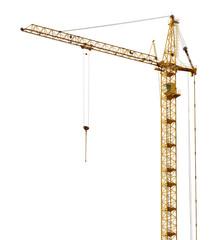 single isolated high dark gold hoisting crane