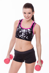 Healthy fitness girl with barbell