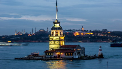 Time Lapse Photography Maiden Tower at blue hours