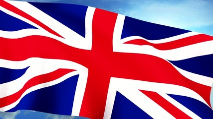 UK Britain Union Jack Flag Closeup Waving Against Blue Sky Seaml