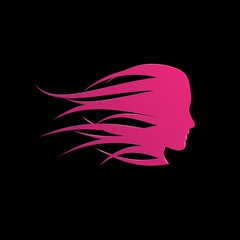 Vector sign pink girl fast in the wind