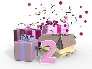 Feest met roze cadeaus voor de tweede