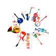 Colorful musical instruments background - 79334354
