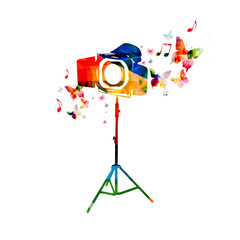 Colorful camera background with butterflies