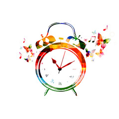 Colorful alarm clock background with butterflies