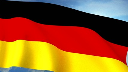 German Flag Closeup Waving Against Blue Sky Seamless Loop CG