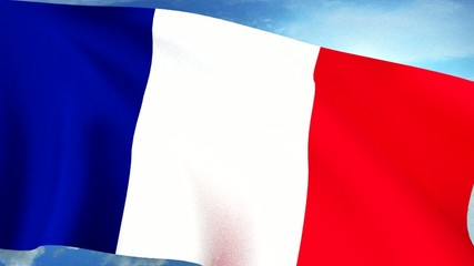 French Flag Closeup Waving Against Blue Sky Seamless Loop CG