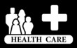 health care icon with family and medical cross