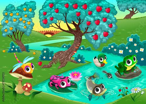 fototapeta na ścianę Zabawna zwierząt na rzece w lesie
