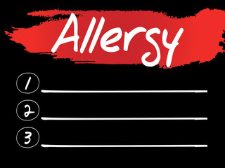 Allergy Blank List, vector concept background