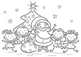 Cartoon Santa with kids