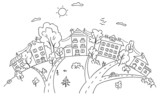 Cartoon town on a hill