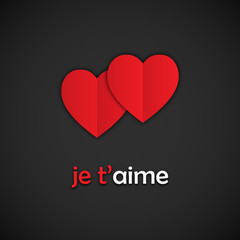 """Carte """"JE T'AIME…"""" (cœurs amour valentin saint)"""