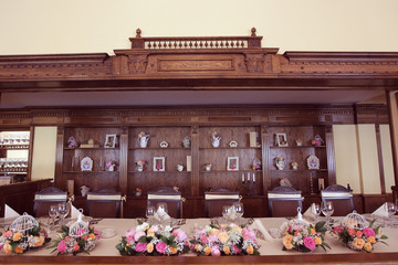 bride&groom table ornated with flowers