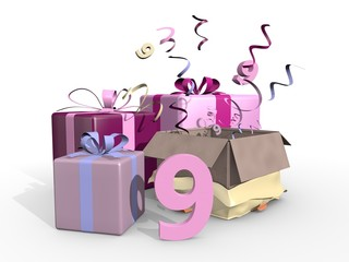 Roze cadeaus voor de negende