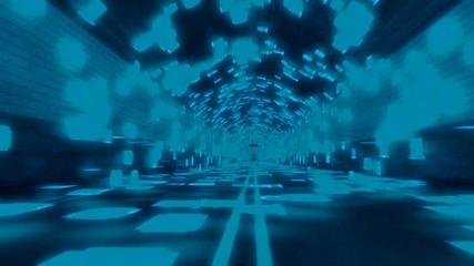 Data Binary Tunnel Blue/Turquoise Seamless Loop