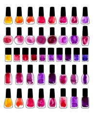 Set of watercolor painted nail polishes