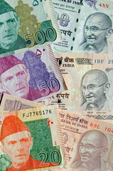 Pakistan and India banknotes