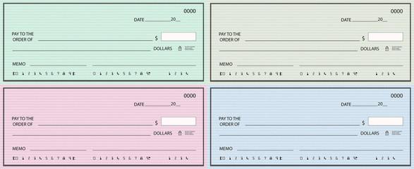 Set of four blank checks