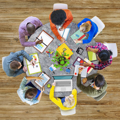 Aerial View Business Contemporary Working Meeting Casual Concept