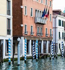 Flags Over Gondola Poles in Venice