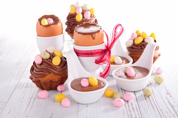 easter cupcake and chocolate mousse