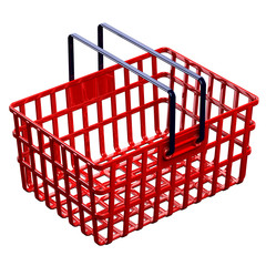 Red shopping basket isolated on white background