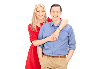 Studio shot of a young couple posing together