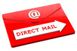 Red envelope with words direct mail
