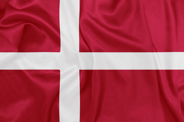 Denmark - Waving national flag on silk texture