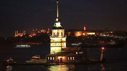 Maiden Tower at night Istanbul Turkey
