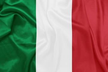 Italy - Waving national flag on silk texture
